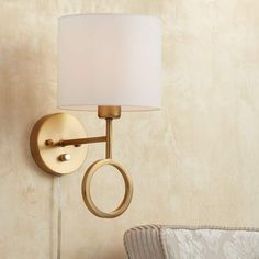 Buy Amidon Wall Lamp Plug in Warm Brass Ring White Drum Shade for Bedroom Living Room Reading - 360 Lighting Plug In Wall Lights, Plug In Wall Sconce, Wall Sconces, Bedroom Sconces, Bedroom Decor, Swing Arm Wall Lamps, Led Wall Lamp, Floor Lamps, Brass Lamp