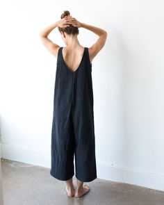 Limited edition washed denim jumpsuit with wide breezy legs and an open v neckline. Designed for HOLD. by Lisa Hackwith of Hackwith Design House in Minneapolis USA. Casual Jumpsuit, Denim Jumpsuit, Overalls, Diva Fashion, Fashion Outfits, Fashion Design, Fashion Ideas, Fashion Check, Sewing Clothes