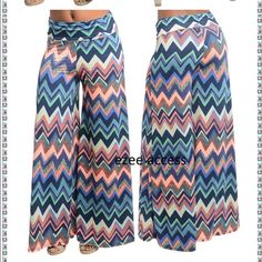 Palazzo pants high waist pastel wide leg fold over High waisted palazzo pants trouser chevron zig zag pastel cool colors. Super stretchy and comfy fabric. Please ask for size and color availability  before purchase. Boutique Pants Wide Leg