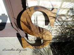 Wedding Big Letter D Rustic Wood Letters Wedding by AllWoodToo #WalnutStainedLargeWeddingLetters are nice to have at your wedding reception for your guests to sign. #SignatureLetters #WeddingLetters, $40