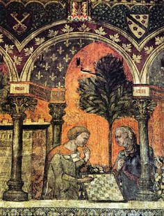 Maître anonyme   XIVe siècle   La Dame de Verzù jouant aux échecs avec le chevalier de Bourgogne