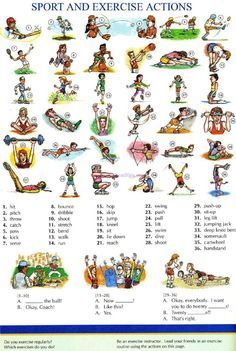 104 - SPORT AND EXERCISE ACTION - Pictures dictionary - English Study, explanations, free exercises, speaking, listening, grammar lessons, reading, writing, vocabulary, dictionary and teaching materials