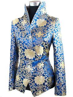 Silk Oriental Chinese Jacket Coat Blouse Plus Size Batik Fashion, Fashion Sewing, African Fashion Dresses, Fashion Outfits, Womens Fashion, Mode Batik, Orientation Outfit, Party Jackets, Satin Jackets