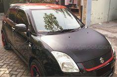 Suzuki Swift Black - Black Mate Hood & Red Gloss Roof Wrapp