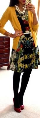 Black Floral Sketched dress c/o Catch Bliss Boutique // Yellow cardigan // Black opaque tights // Red pumps // Pearl cluster necklace c/o T+J Designs // Bracelet c/o Sira & Mara