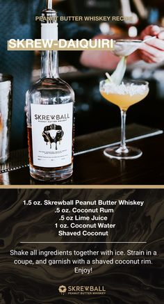 Skrewball Whiskey Daiquiri Recipe It's spring time, and time for new cocktails, too! Try this Skrew-Daiquiri at home with a few simple ingredients, including Skrewball Peanut Butter Whiskey! Try out more signature recipes here! Whiskey Recipes, Alcohol Drink Recipes, Whiskey Drinks, Bar Drinks, Cocktail Drinks, Alcoholic Drinks, Beverages, Cocktails, Martinis