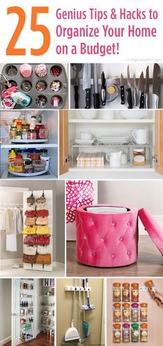 25 Genius Tips and Hacks to Organize Your Home on a Budget! You don't have to spend a lot of money to organize your home!