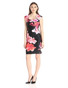 Calvin Klein Womens Floral Rise Ruched Dress BlackHibiscus 8 -- Continue to the product at the image link.
