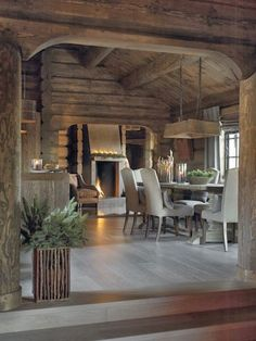 All about skiing and chalets Old style log meets meets modern design. I like how the decor has a con Chalet Interior, Interior And Exterior, Interior Design, Cabin Interiors, Rustic Interiors, Rustic Design, Modern Design, Rustic Decor, Rustic Barn