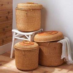 Surabaya Round Wicker Baskets With Lids Set Of Three Elegant Storage Basket