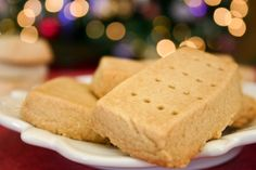 Brown sugar shortbread--only three ingredients (flour, butter, brown sugar of course!)
