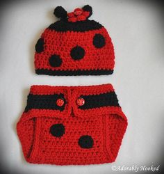 Baby Lady Bug Set, Beanie and Diaper Cover, Red with Black Spots, Photo Prop, Newborn, MADE TO ORDER