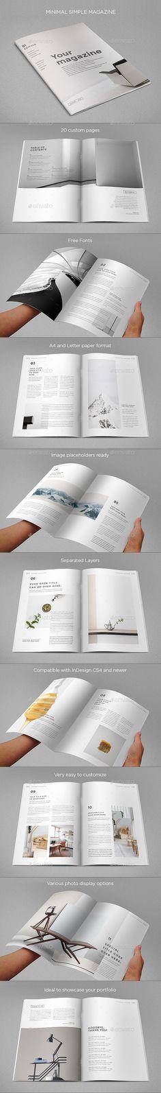 Simple Minimal Magazine Template InDesign INDD. Download here: https://graphicriver.net/item/simple-minimal-magazine/17544226?ref=ksioks