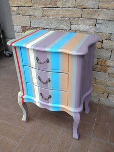 night table multicolor, shabby night table, stripes,