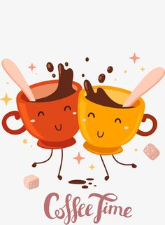 Cartoon 2 cups of coffee to stir, Cartoon, 2 Cups Of Coffee, Stir PNG Image