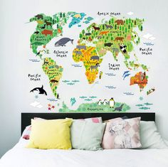Learn the world by its animals with this Kids' World Map from Rocky Mountain Decals. So many cute creatures!