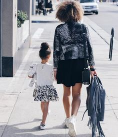Mommy and Mini black and white street style