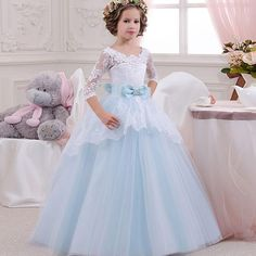 2599d90538e64 Light Blue Princess Dress Great for Winter Wedding Flower Girl Blue Dresses  For Kids, Girls