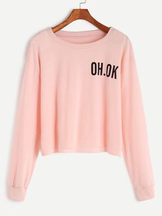 Pink Drop Shoulder Letter Print Raw Hem Crop Sweatshirt — 0.00 € color: Pink size: one-size