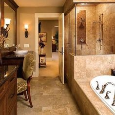 My inspiration color palette..darks and bronze..rich and warm... with different vessel sinks and tub. Oiled bronze fixtures.