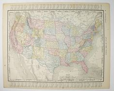 united states map 1900 antique map usa map vintage geography art 11 x 14 map gift for traveler color map united states gift for teacher available from