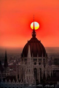 The Sun and the Parliament of Budapest, Hungary