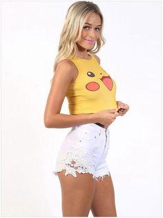 2016 Kawaii pokemon go Pikachu t shirts for women New 100% cotton cool summer…