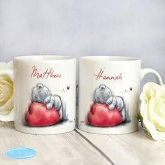 Me To You Heart Mug Set from personalised-by-you.com - This charming 'Me To You' Heart Mug Set is the ideal gift for that special couple, featuring 2 mugs with their own names on the front and a message on the back.