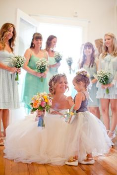 mismatched bridesmaid dresses and cute flower girl - Deer Pearl Flowers