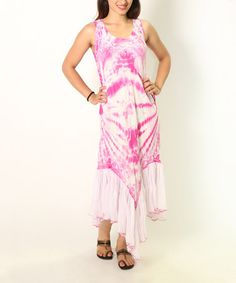 Pink Tie-Dye Embroidered Dress #zulily #zulilyfinds