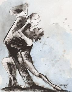 Items similar to Print - Watercolor and Charcoal - Untitled Tango Dance Art - Tango Painting on Etsy Tango Art, West Coast Swing, Sketchbook Cover, Dance Paintings, Argentine Tango, Painting & Drawing, 1, Sketches, Watercolor