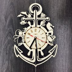 Anchor Wall Wood Clock $31.99 Size - 12 in / 30 cm Really cool gift and unique home decoration ;) Can be personalized for free ;) Free Shipping WORLDWIDE. Tracking ID is provided. In case the clock comes broken or with defect, I will make you a refund or will send you a replacement!