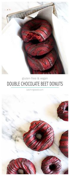The perfect Valentines day breakfast recipe. These Baked Double Chocolate Cake Beet Donuts might sound strange, but they are deeply chocolaty, rich and have the perfect soft texture. This healthy dessert recipe is vegan, vegetarian, and gluten-free. | CatchingSeeds.com