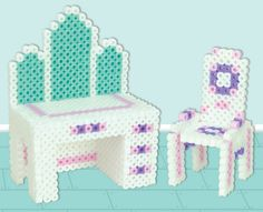 Create this pretty 3-D vanity with matching chair for your dollhouse in Perler Beads! It's easy to substitute your own colors.