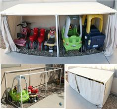 Kid's Car Garage. Great idea for all those large outdoor toys you don't want ruined by the weather.