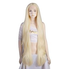 32 Inches/80CM Light Blonde Long Wavy Women Lady Party Lace Front Wig Cap *** You can get additional details at the image link.