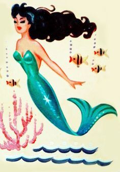 Retro, Vintage, mermaid with black hair, teal tail, little fishes and coral.
