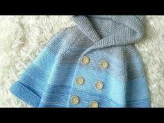 ABRIGO unisex para niñ@ #tejido en dos agujas talla 6 - video 1 - YouTube Knitting For Kids, Baby Knitting Patterns, Crochet Mittens, Knit Crochet, Baby Cardigan, Baby Kids, Kids Fashion, Embroidery, Stitch