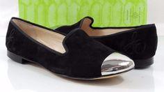 Women's Sam Edelman ASTER Slip On Loafer Metal Cap Toe Black suede Size 7 #SamEdelman #LoafersMoccasins