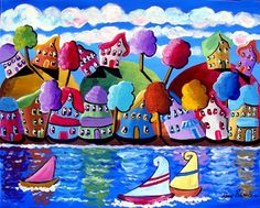 Sailboats Trees Houses Shoreline Canvas Whimsical Colorful Folk Art Original Painting via Etsy