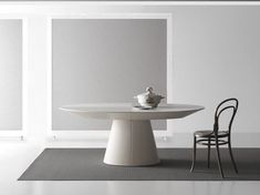 Extending oval wooden table ADAGIO by Bauline
