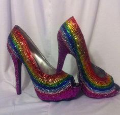 Rainbow Rhinestone Heels