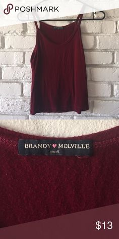 Super soft burgundy tank top Super cute burgundy spaghetti strapped tank top.  It's made of that super soft, stretchy, and comfy Brandy Melville material. I think it will fit multiple sizes from XS to M Brandy Melville Tops Tank Tops