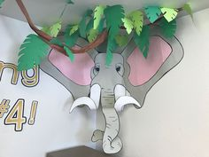 Construction paper elephant kids classroom jungle theme grade wall decor hub… - Home Page Rainforest Classroom, Jungle Theme Classroom, Classroom Themes, Classroom Wall Decor, Rainforest Theme, Preschool Jungle, Jungle Crafts, Deco Jungle, Jungle Room