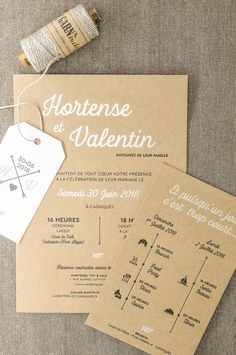 Marriage ceremony invitation and program printed in Letterpress on kraft paper, with Champagne scorching foil and monogram label / Letterpress and Champagne hotfoil wedding ceremony invitation and timeline on recycle thick paper Elegant Wedding Invitations, Wedding Invitation Cards, Wedding Programs, Wedding Stationery, Wedding Cards, Wedding Invitation Content, Invitation Wording, Wedding Timeline Template, Kraft Paper