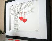 Hand Cut Paper Tree - made with song lyrics, love letter, or vows.