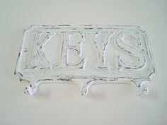 White Shabby Chic Cast Iron Key Holder by VintageCharmPlace, $14.00