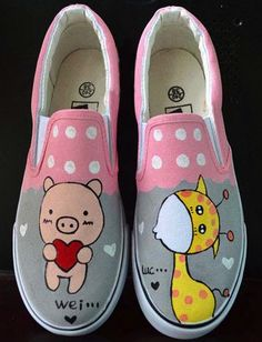 Love cute pig cartoon cat canvas shoes