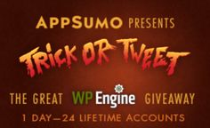 FREE WordPress hosting for LIFE! Contest from AppSumo, drawings every hour on Halloween. Ends 12AM CDT 11/1.