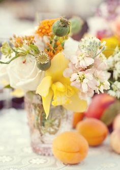 I love the use of apricots in the table decor.